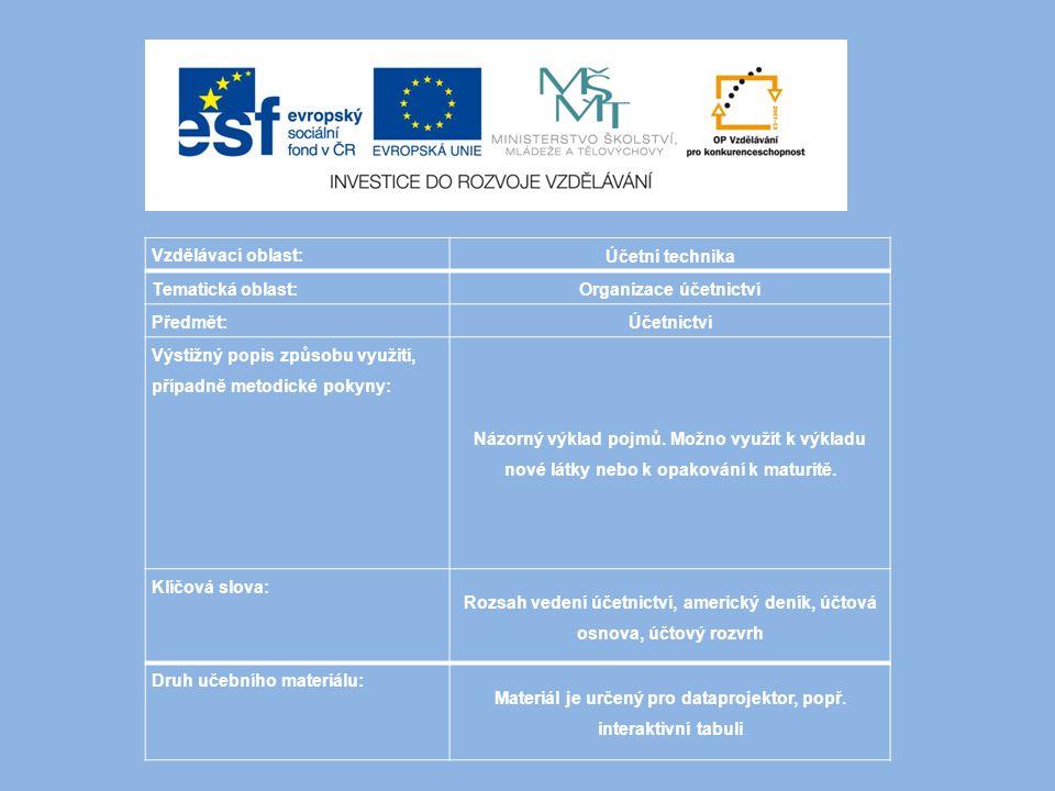 Obsah: Organizace účetnictví Směrná účtová osnova Účtový rozvrh