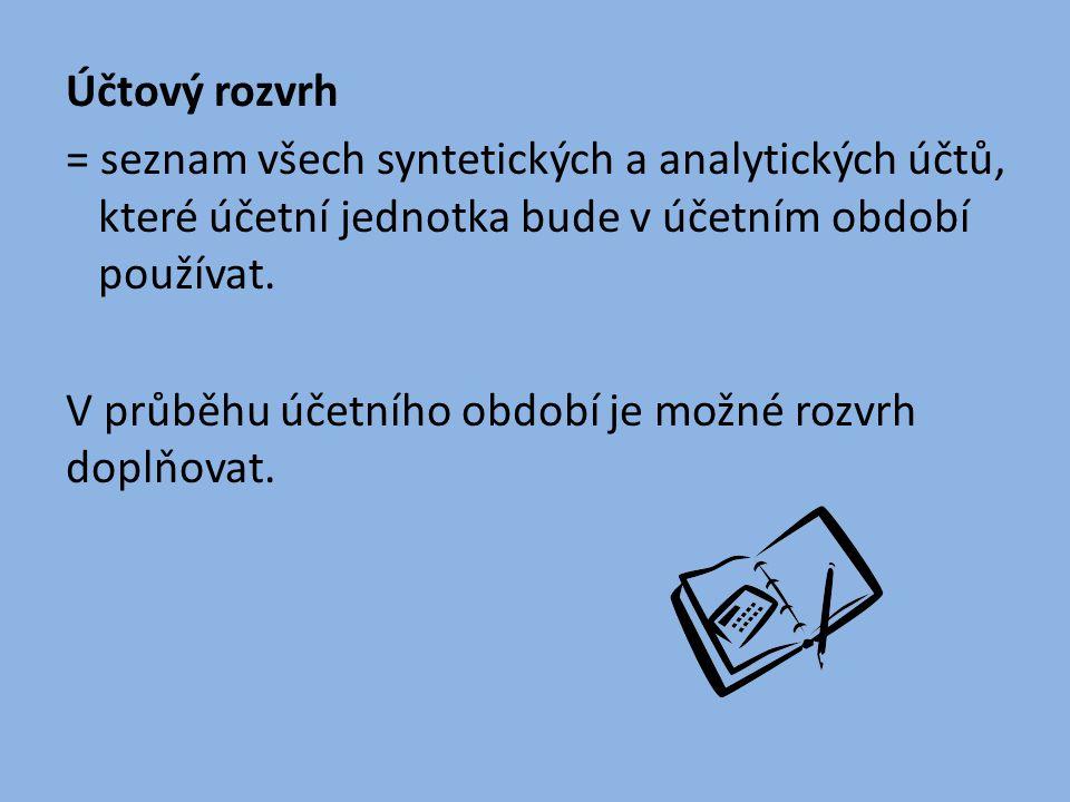 Účtový rozvrh = seznam všech syntetických a analytických účtů, které účetní jednotka bude v účetním období používat.