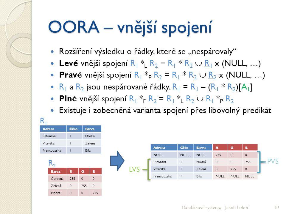 """OORA – vnější spojení Rozšíření výsledku o řádky, které se """"nespárovaly"""" Levé vnější spojení R 1 * L R 2 = R 1 * R 2  R 1 x (NULL, …) Pravé vnější sp"""