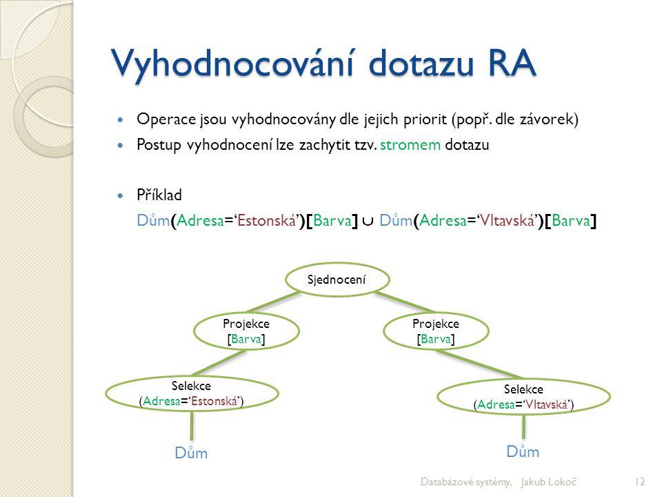 Vyhodnocování dotazu RA Operace jsou vyhodnocovány dle jejich priorit (popř. dle závorek) Postup vyhodnocení lze zachytit tzv. stromem dotazu Příklad
