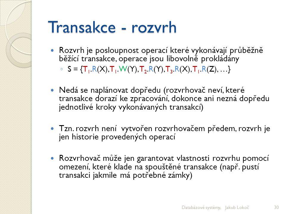 Transakce - rozvrh Rozvrh je posloupnost operací které vykonávají průběžně běžící transakce, operace jsou libovolně prokládány ◦ S = {T 1.R(X), T 1.W(