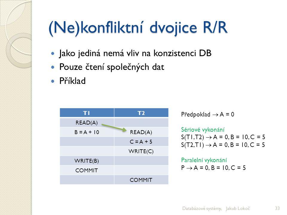 (Ne)konfliktní dvojice R/R Jako jediná nemá vliv na konzistenci DB Pouze čtení společných dat Příklad Databázové systémy, Jakub Lokoč33 T1T1T2 READ(A)