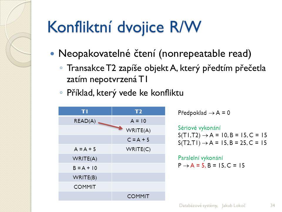 Konfliktní dvojice R/W Neopakovatelné čtení (nonrepeatable read) ◦ Transakce T2 zapíše objekt A, který předtím přečetla zatím nepotvrzená T1 ◦ Příklad