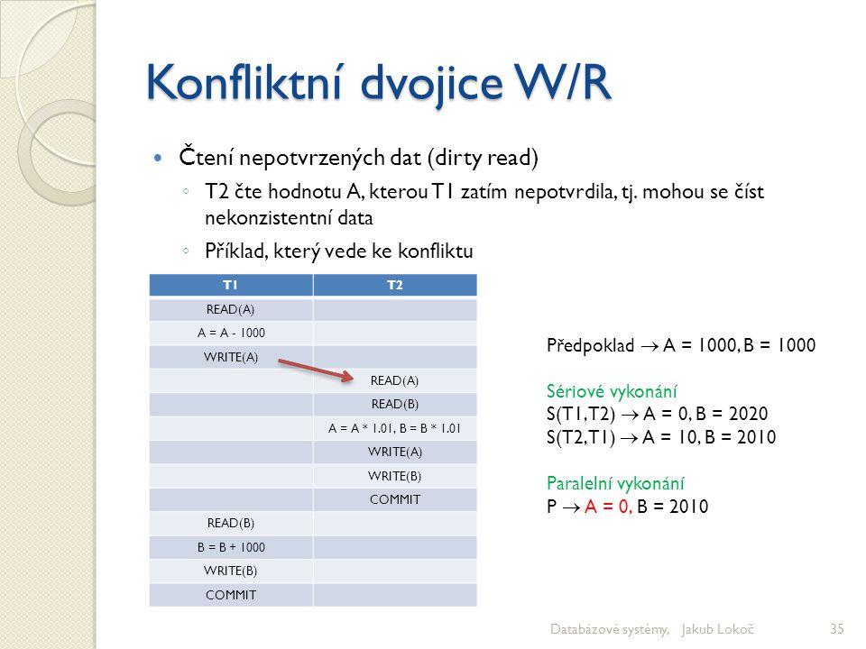 Konfliktní dvojice W/R Čtení nepotvrzených dat (dirty read) ◦ T2 čte hodnotu A, kterou T1 zatím nepotvrdila, tj. mohou se číst nekonzistentní data ◦ P