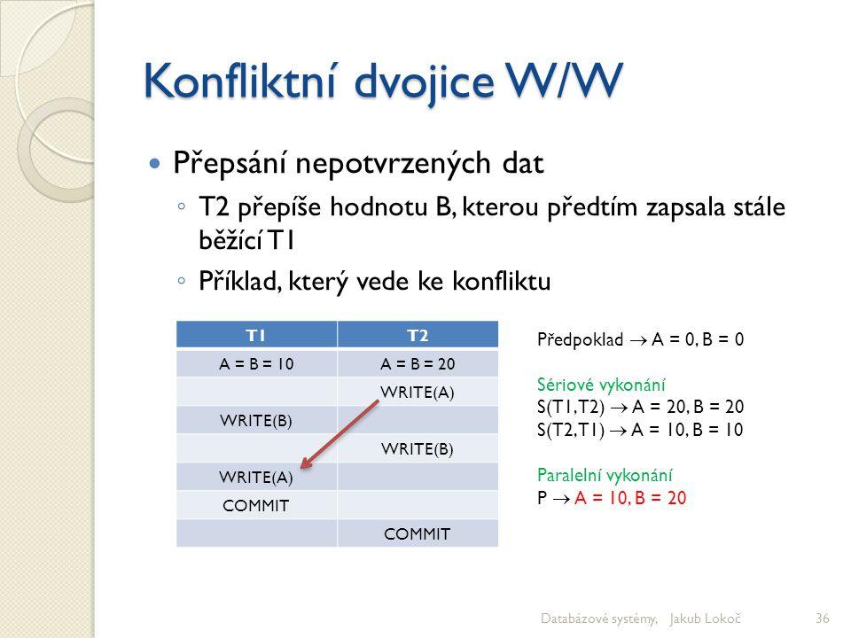 Konfliktní dvojice W/W Přepsání nepotvrzených dat ◦ T2 přepíše hodnotu B, kterou předtím zapsala stále běžící T1 ◦ Příklad, který vede ke konfliktu Da
