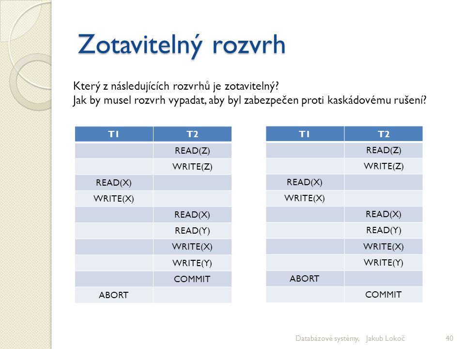 Zotavitelný rozvrh Databázové systémy, Jakub Lokoč40 T1T1T2 READ(Z) WRITE(Z) READ(X) WRITE(X) READ(X) READ(Y) WRITE(X) WRITE(Y) COMMIT ABORT Který z n