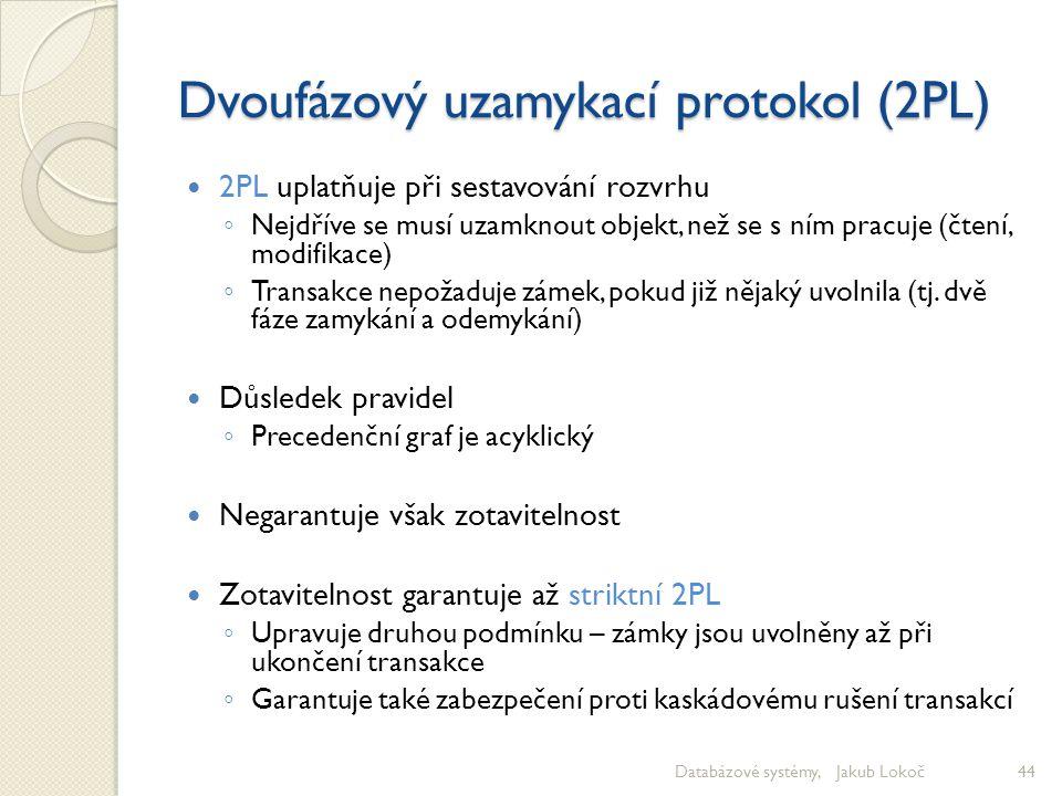 Dvoufázový uzamykací protokol (2PL) 2PL uplatňuje při sestavování rozvrhu ◦ Nejdříve se musí uzamknout objekt, než se s ním pracuje (čtení, modifikace