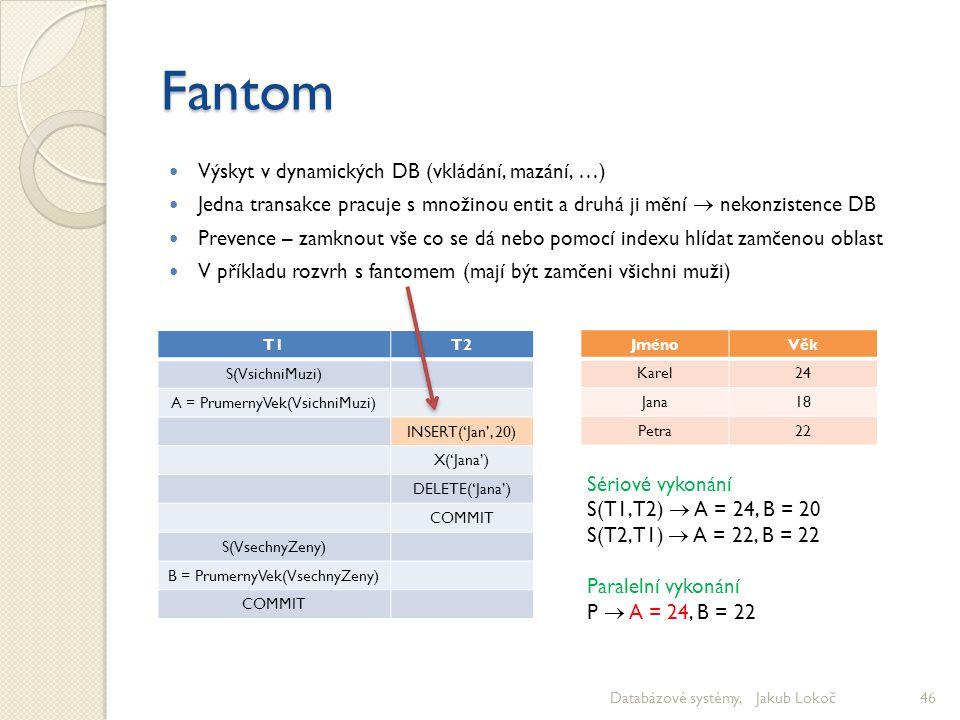 Fantom Výskyt v dynamických DB (vkládání, mazání, …) Jedna transakce pracuje s množinou entit a druhá ji mění  nekonzistence DB Prevence – zamknout v