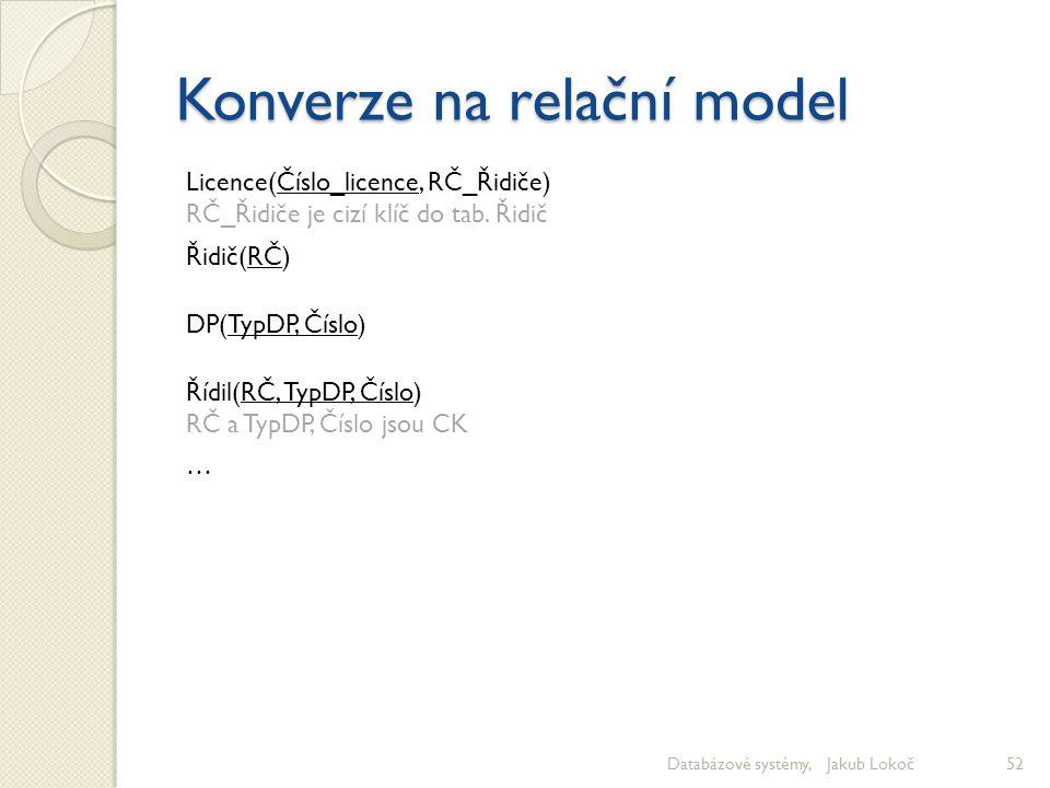Konverze na relační model Databázové systémy, Jakub Lokoč52 Licence(Číslo_licence, RČ_Řidiče) RČ_Řidiče je cizí klíč do tab. Řidič Řidič(RČ) DP(TypDP,