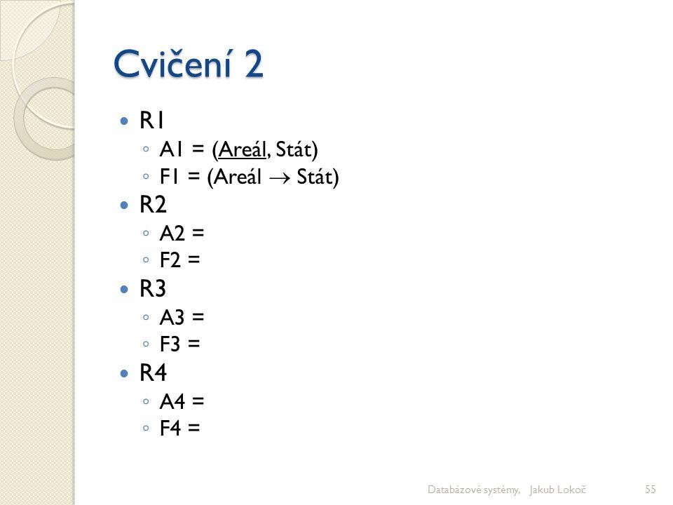 Cvičení 2 R1 ◦ A1 = (Areál, Stát) ◦ F1 = (Areál  Stát) R2 ◦ A2 = ◦ F2 = R3 ◦ A3 = ◦ F3 = R4 ◦ A4 = ◦ F4 = Databázové systémy, Jakub Lokoč55