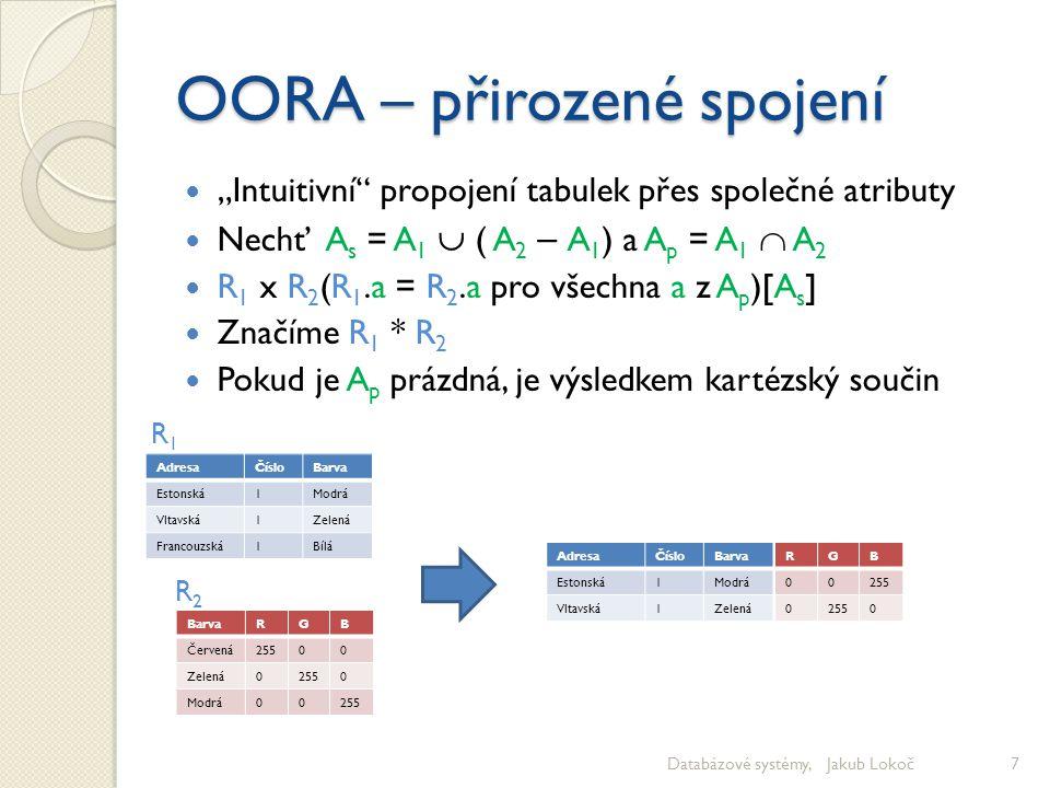 OO RA – vnitřní spojení Přirozené spojení spojuje přes predikát rovnosti společných atributů Ten je ale jen speciálním případem libovolného predikátu, který určuje podmínku spojení R 1 x R 2 (t 1  t 2 ) [A 1  A 2 ] Značíme jako R 1 [t 1  t 2 ]R 2 Databázové systémy, Jakub Lokoč8 AdresaČísloBarva Estonská1Modrá Estonská2Červená Vltavská1Modrá Vltavská2Zelená Vltavská3Bílá Evropská1Modrá Evropská2Bílá Evropská3Modrá Evropská4Bílá Evropská5Zelená Francouzská1Bílá Francouzská2Zelená Francouzská3Modrá BarvaRGB Červená25500 Zelená02550 Modrá00255 AdresaČísloR1.Barva Vltavská1Modrá Vltavská2Zelená Vltavská3Bílá R2.BarvaRGB Červená25500 Červená25500 Červená25500 R 1 [Číslo < R & Adresa= Vltavská ]R 2 R1R1 R2R2