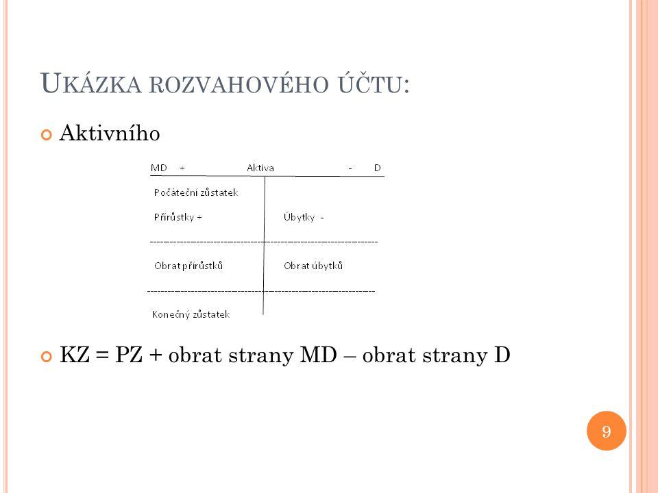 U KÁZKA ROZVAHOVÉHO ÚČTU : Aktivního KZ = PZ + obrat strany MD – obrat strany D 9