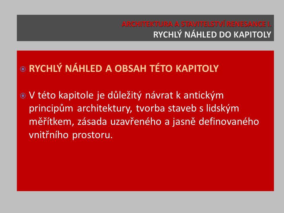  RYCHLÝ NÁHLED A OBSAH TÉTO KAPITOLY  V této kapitole je důležitý návrat k antickým principům architektury, tvorba staveb s lidským měřítkem, zásada