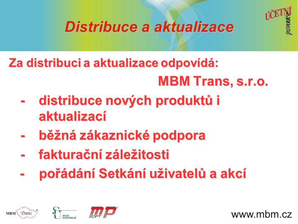 Distribuce a aktualizace Za distribuci a aktualizace odpovídá: MBM Trans, s.r.o. MBM Trans, s.r.o. -distribuce nových produktů i aktualizací -běžná zá