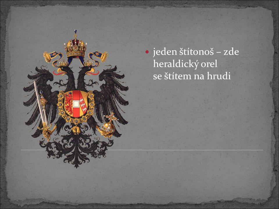 jeden štítonoš – zde heraldický orel se štítem na hrudi