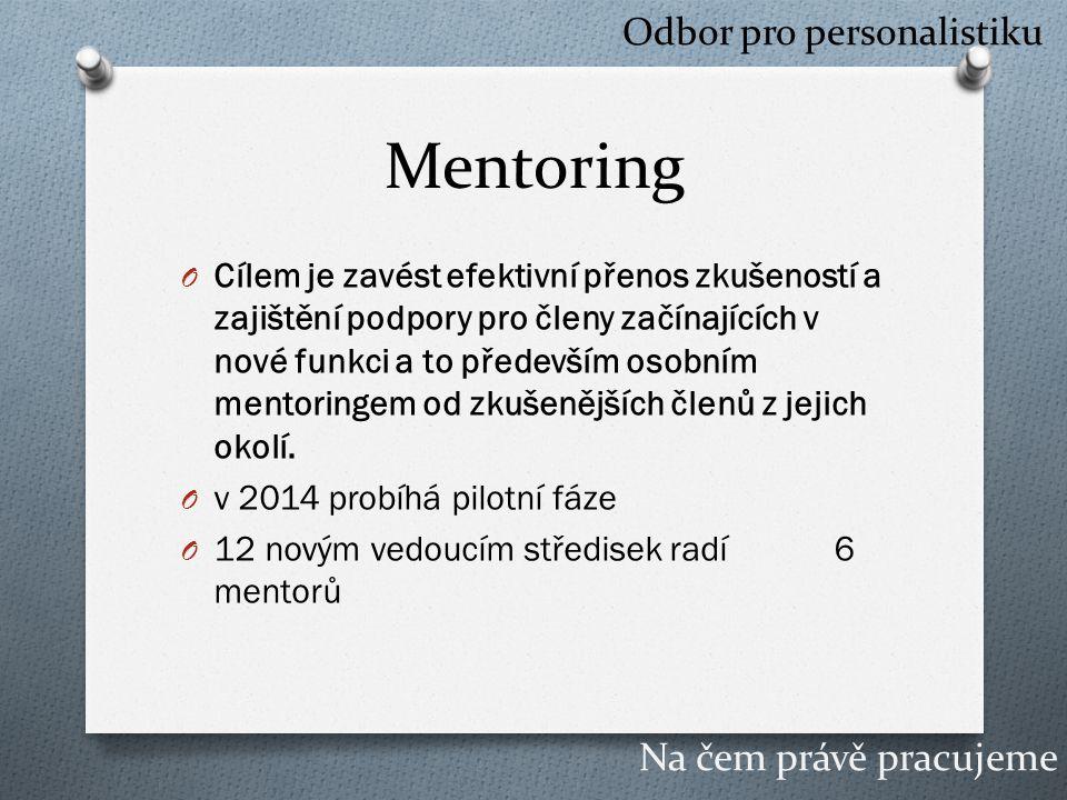 Mentoring O Cílem je zavést efektivní přenos zkušeností a zajištění podpory pro členy začínajících v nové funkci a to především osobním mentoringem od zkušenějších členů z jejich okolí.