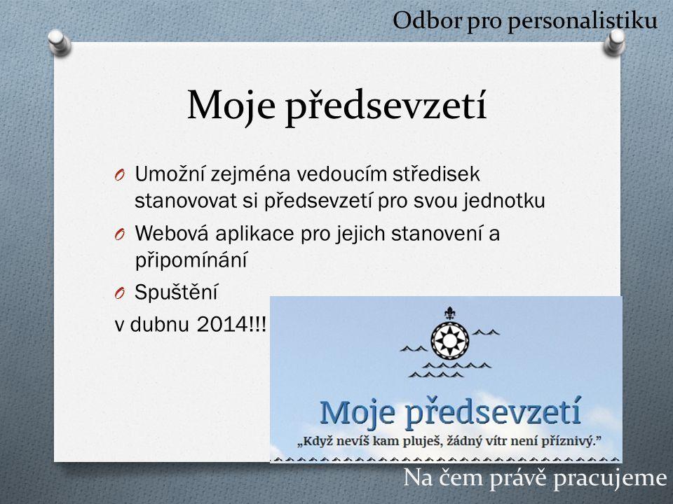 Moje předsevzetí O Umožní zejména vedoucím středisek stanovovat si předsevzetí pro svou jednotku O Webová aplikace pro jejich stanovení a připomínání O Spuštění v dubnu 2014!!.