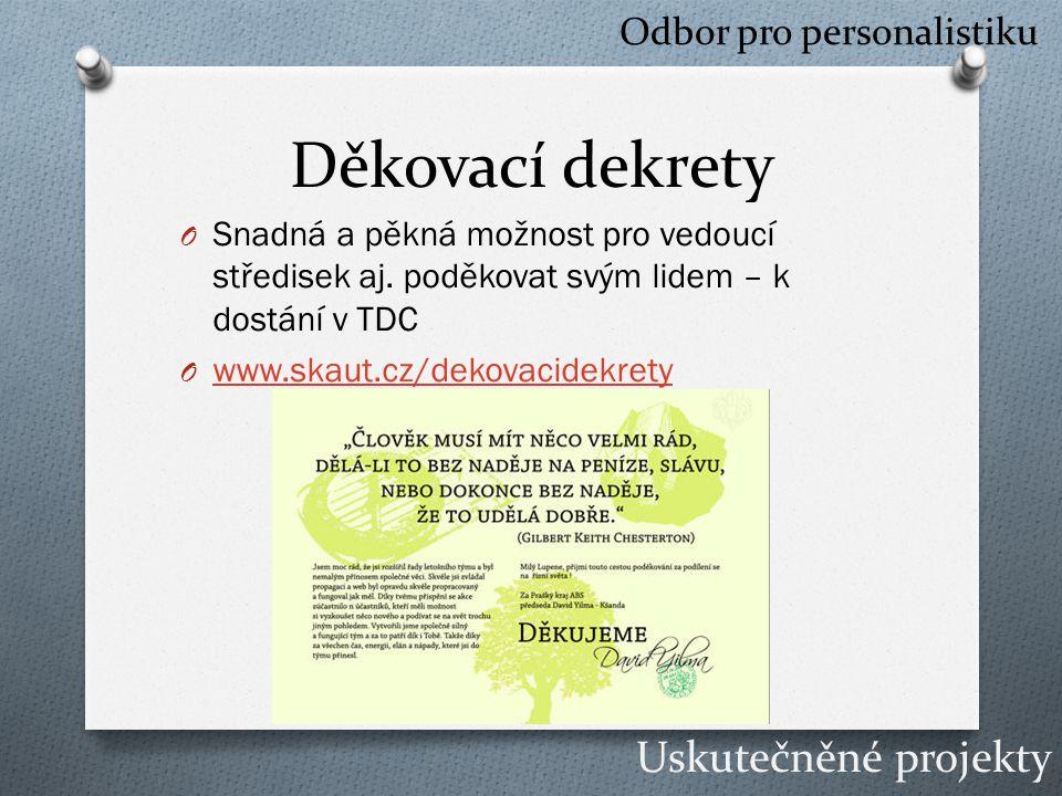 Děkovací dekrety O Snadná a pěkná možnost pro vedoucí středisek aj.