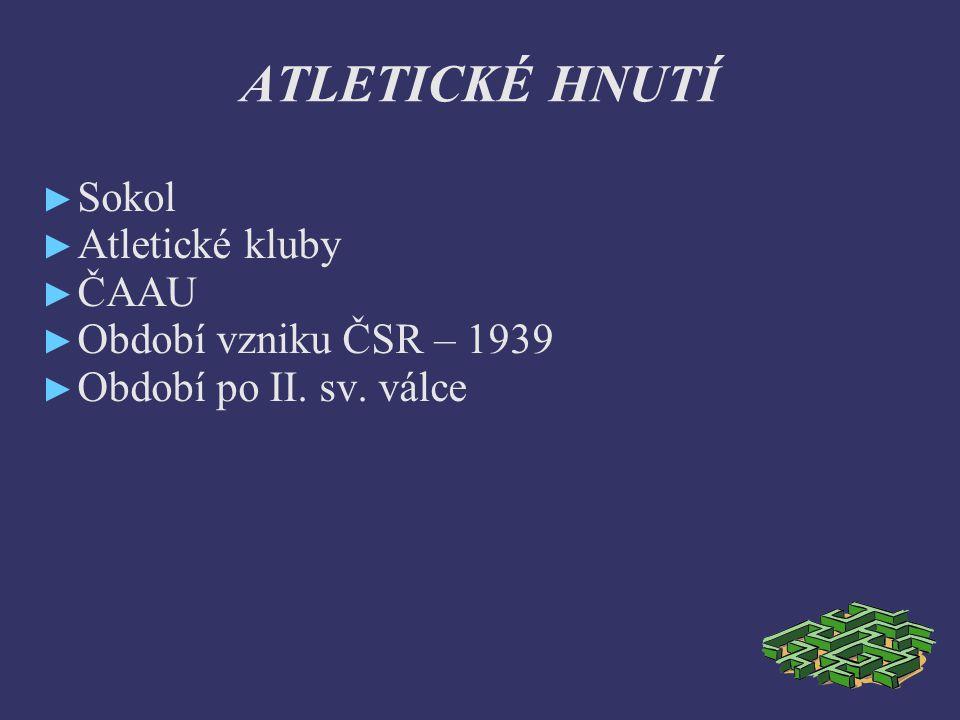 ATLETICKÉ HNUTÍ ► Sokol ► Atletické kluby ► ČAAU ► Období vzniku ČSR – 1939 ► Období po II.