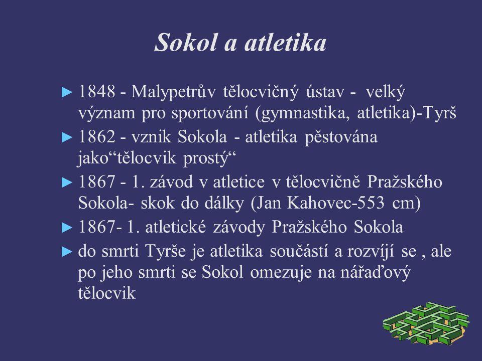 Sokol a atletika ► 1848 - Malypetrův tělocvičný ústav - velký význam pro sportování (gymnastika, atletika)-Tyrš ► 1862 - vznik Sokola - atletika pěstována jako tělocvik prostý ► 1867 - 1.