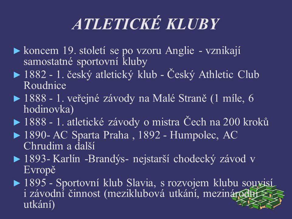 ČAAU Česká atletická amaterská unie - sjednotila sportovní klub (zahrnovala i tenisty, cyklisty, bruslaře, lyžaře) 1896 - na OH vznik Mezinárodní atletické amaterské unie 1897 - vznik ČAAU (J.