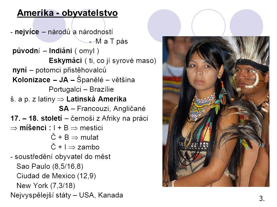 - nejvíce – národů a národností - M a T pás původní – Indiáni ( omyl ) Eskymáci ( ti, co jí syrové maso) nyní – potomci přistěhovalců Kolonizace – JA – Španělé – většina Portugalci – Brazílie š.