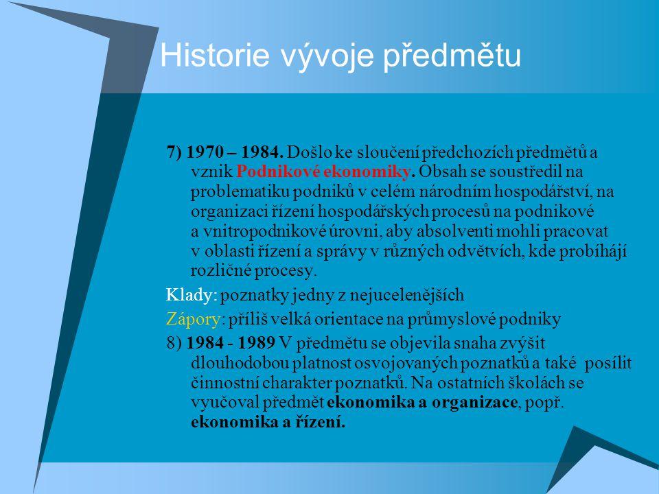 Historie vývoje předmětu 7) 1970 – 1984. Došlo ke sloučení předchozích předmětů a vznik Podnikové ekonomiky. Obsah se soustředil na problematiku podni