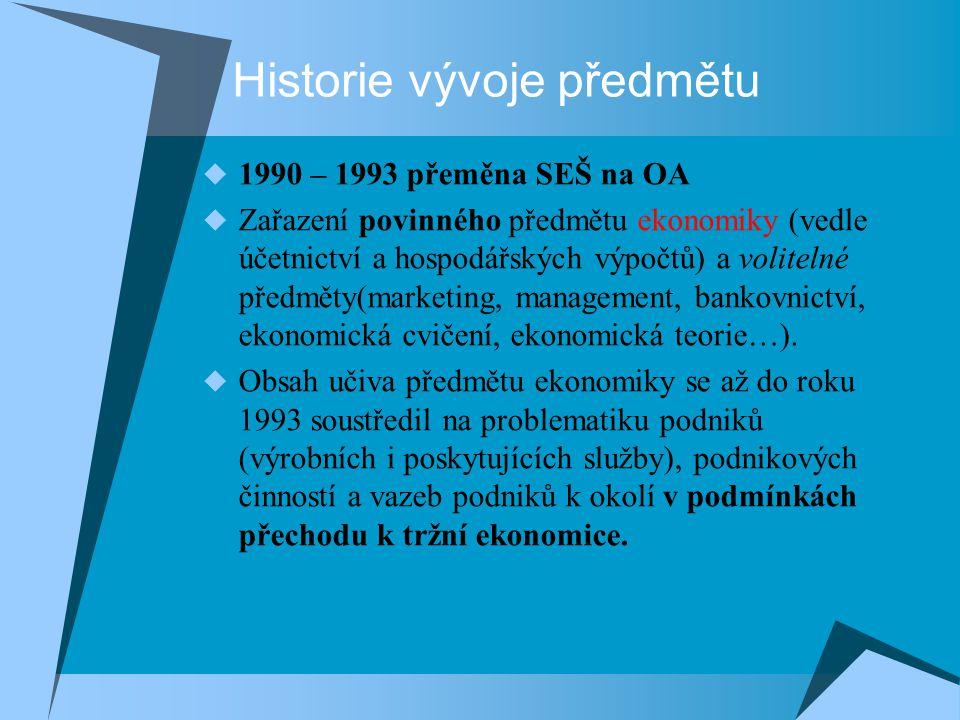 Historie vývoje předmětu  1990 – 1993 přeměna SEŠ na OA  Zařazení povinného předmětu ekonomiky (vedle účetnictví a hospodářských výpočtů) a voliteln