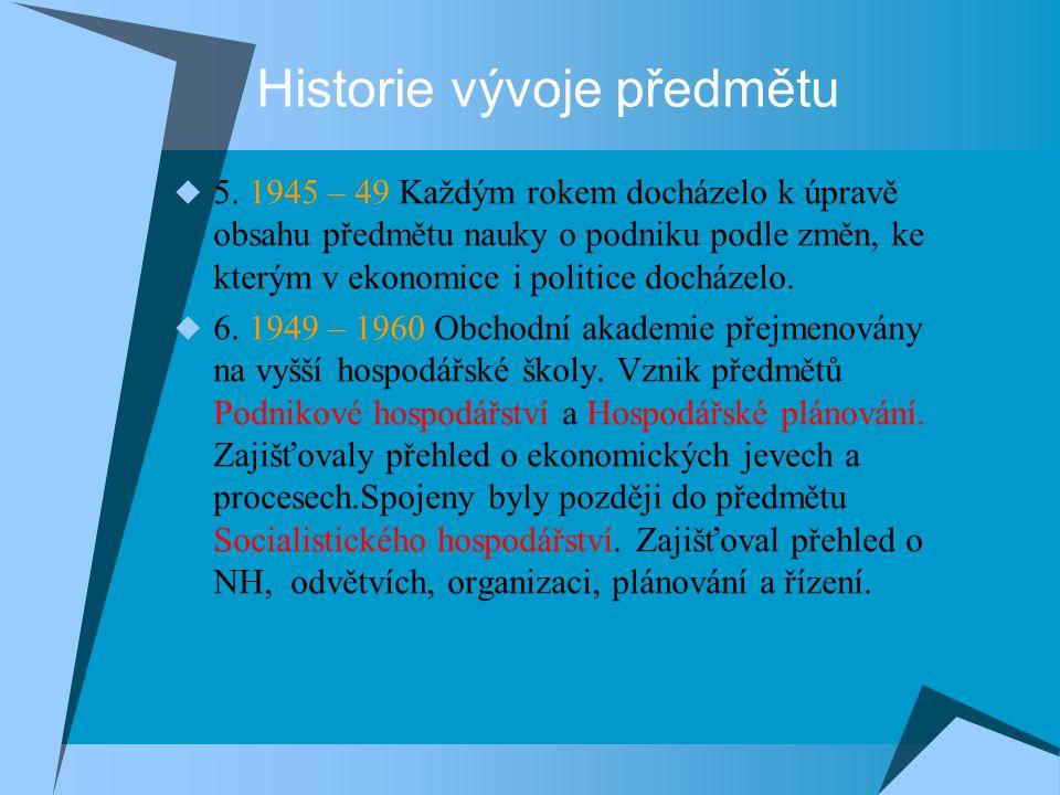 Historie vývoje předmětu  5. 1945 – 49 Každým rokem docházelo k úpravě obsahu předmětu nauky o podniku podle změn, ke kterým v ekonomice i politice d