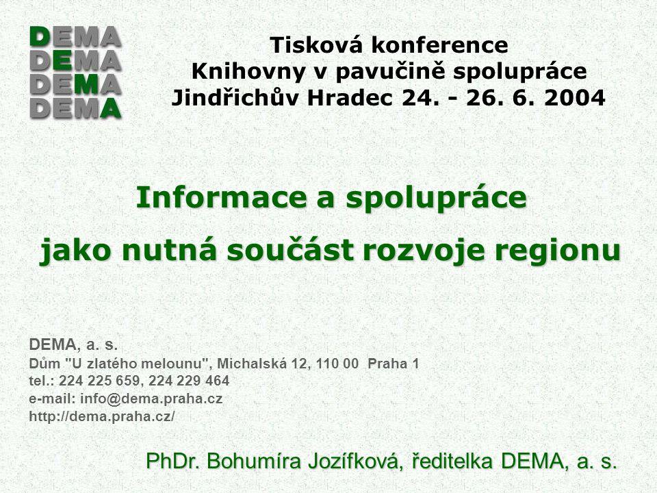 Tisková konference Knihovny v pavučině spolupráce Jindřichův Hradec 24. - 26. 6. 2004 Informace a spolupráce jako nutná součást rozvoje regionu DEMA,