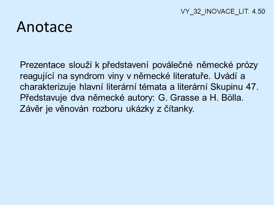 Německá poválečná literatura VY_32_INOVACE_LIT. 4.50