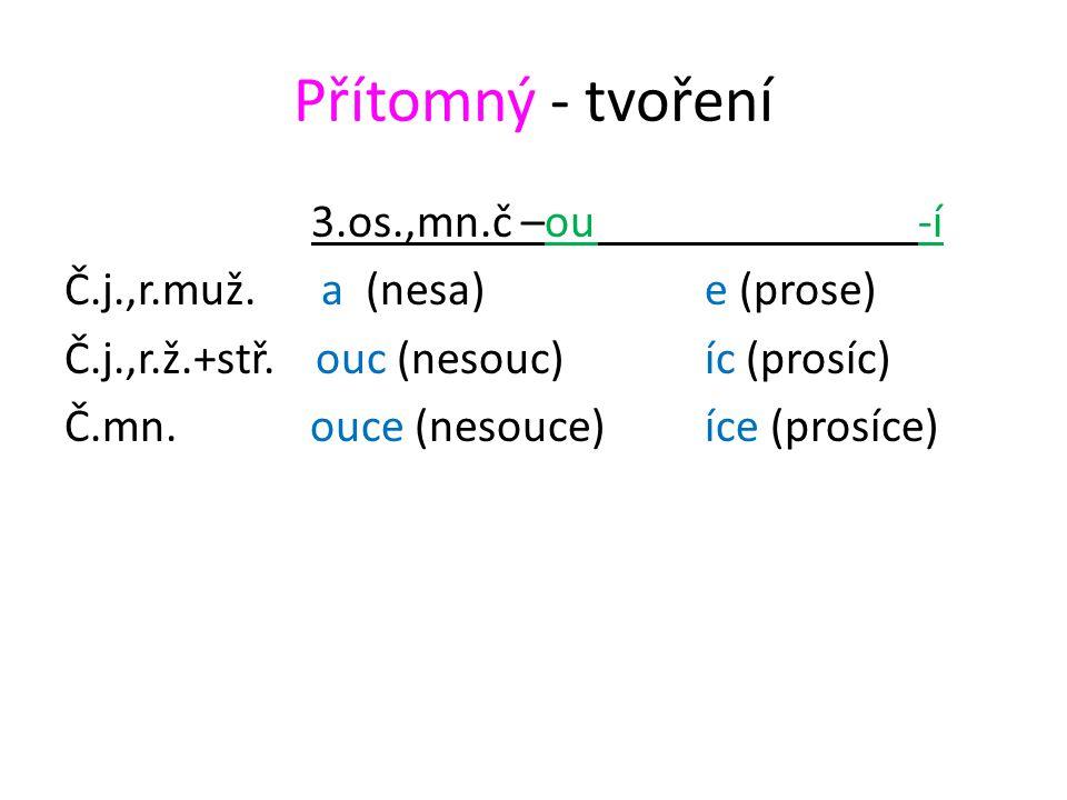 Přítomný - tvoření 3.os.,mn.č –ou-í Č.j.,r.muž. a (nesa)e (prose) Č.j.,r.ž.+stř.