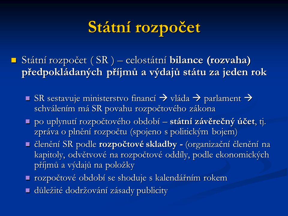 Státní rozpočet Státní rozpočet ( SR ) – celostátní bilance (rozvaha) předpokládaných příjmů a výdajů státu za jeden rok Státní rozpočet ( SR ) – celostátní bilance (rozvaha) předpokládaných příjmů a výdajů státu za jeden rok SR sestavuje ministerstvo financí  vláda  parlament  schválením má SR povahu rozpočtového zákona SR sestavuje ministerstvo financí  vláda  parlament  schválením má SR povahu rozpočtového zákona po uplynutí rozpočtového období – státní závěrečný účet, tj.