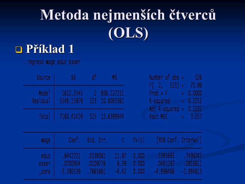 Rozptyl OLS odhadové funkce Pokud jsou splněny předpoklady 1 až 5, je n estranný estimátor rozptylu náhodné složky dán vztahem Pokud jsou splněny předpoklady 1 až 5, je n estranný estimátor rozptylu náhodné složky dán vztahem3.56  Standardní chyba regrese SER (standard error of the regression)  Standardní chyba odhadu