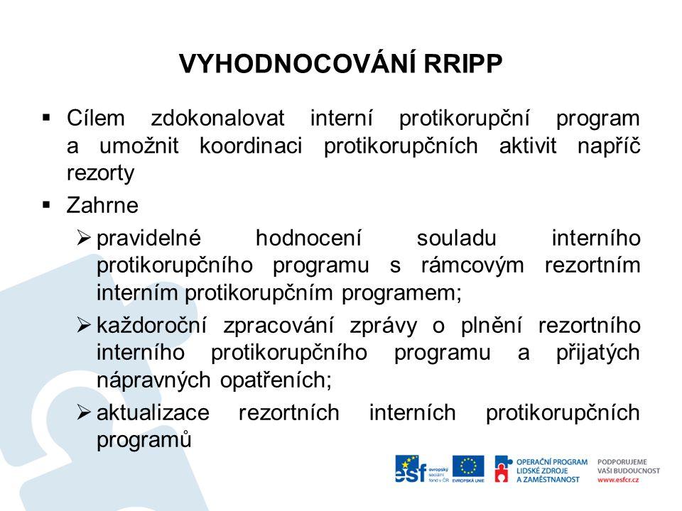 VYHODNOCOVÁNÍ RRIPP  Cílem zdokonalovat interní protikorupční program a umožnit koordinaci protikorupčních aktivit napříč rezorty  Zahrne  pravidel