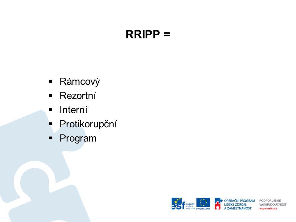 ODŮVODNĚNÍ RRIPP VE STRATEGII 2013 - 2014  je třeba stanovit alespoň minimální požadavky, které by rezortní interní protikorupční program měl mít;  součástí by tak měl být  katalog (mapa) korupčních rizik;  odkaz na etický kodex rezortu;  zřízení rezortního protikorupčního ombudsmana;  správa, poskytování a zveřejňování informací;  specifika jednotlivých rezortů