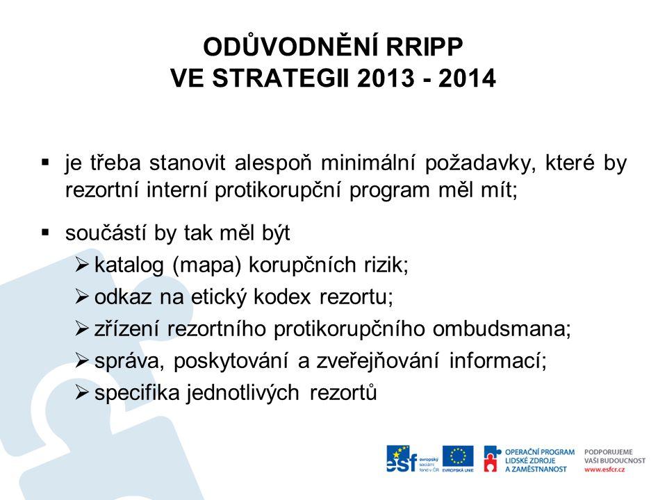 ODŮVODNĚNÍ RRIPP VE STRATEGII 2013 - 2014  je třeba stanovit alespoň minimální požadavky, které by rezortní interní protikorupční program měl mít; 