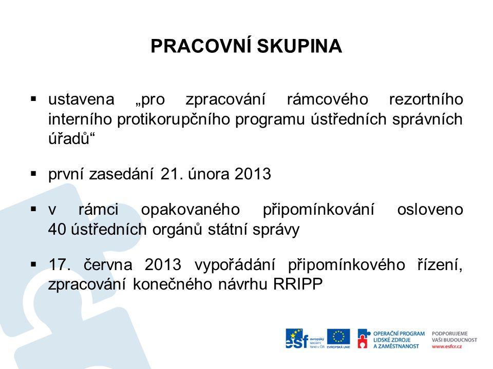 VÝSLEDNÁ OSNOVA RRIPP Pět základních částí  1.Vytváření a posilování protikorupčního klimatu  2.