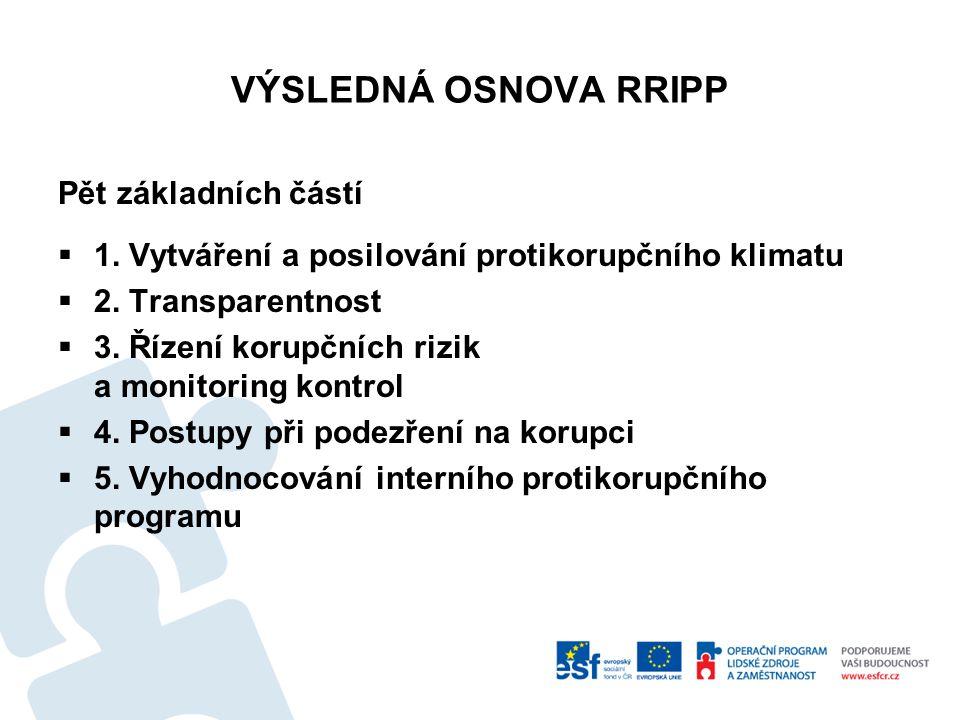VÝSLEDNÁ OSNOVA RRIPP Pět základních částí  1. Vytváření a posilování protikorupčního klimatu  2. Transparentnost  3. Řízení korupčních rizik a mon