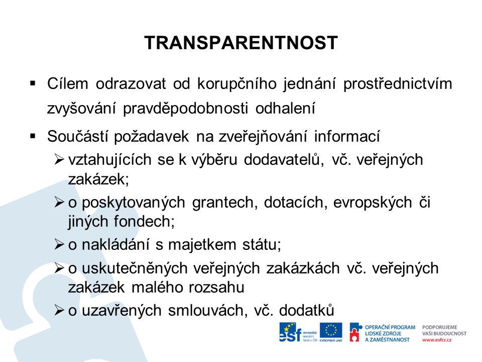 TRANSPARENTNOST  Cílem odrazovat od korupčního jednání prostřednictvím zvyšování pravděpodobnosti odhalení  Součástí požadavek na zveřejňování infor