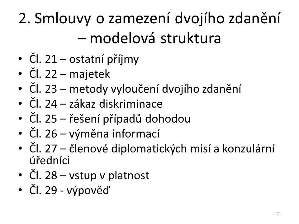 2.Smlouvy o zamezení dvojího zdanění – modelová struktura Čl.