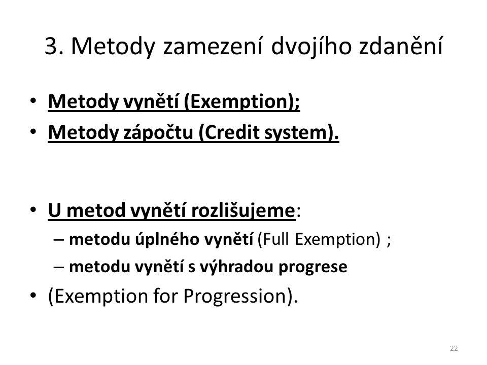 3.Metody zamezení dvojího zdanění Metody vynětí (Exemption); Metody zápočtu (Credit system).