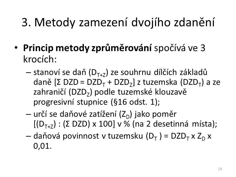 3. Metody zamezení dvojího zdanění Princip metody zprůměrování spočívá ve 3 krocích: – stanoví se daň (D T+Z ) ze souhrnu dílčích základů daně [Σ DZD
