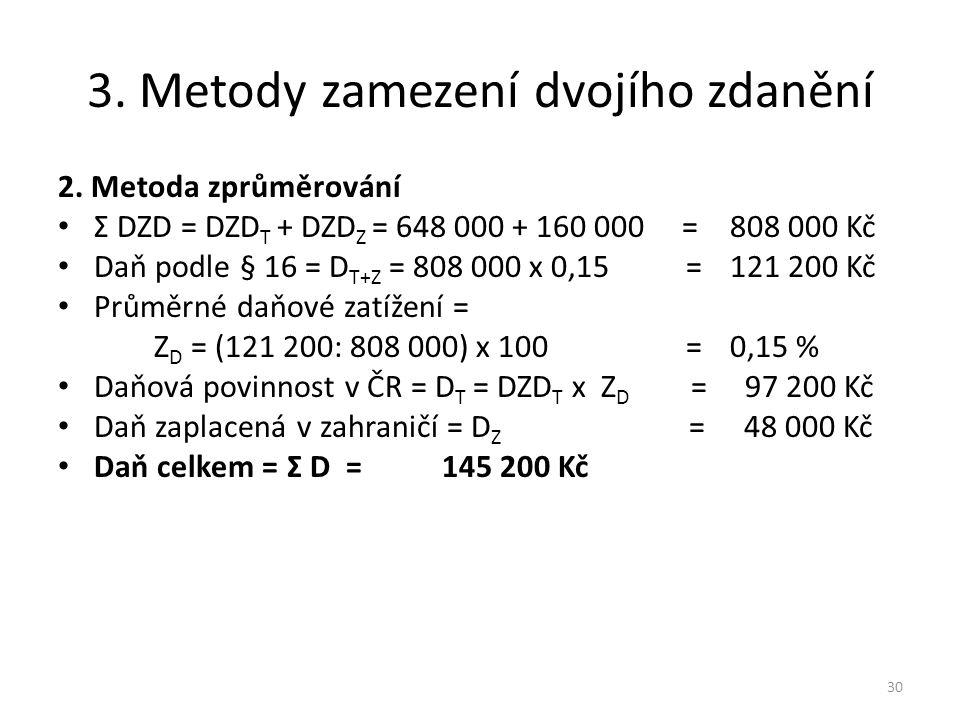 3.Metody zamezení dvojího zdanění 2.