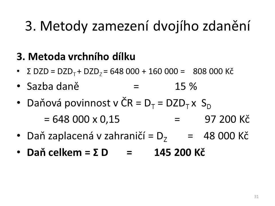 3.Metody zamezení dvojího zdanění 3.
