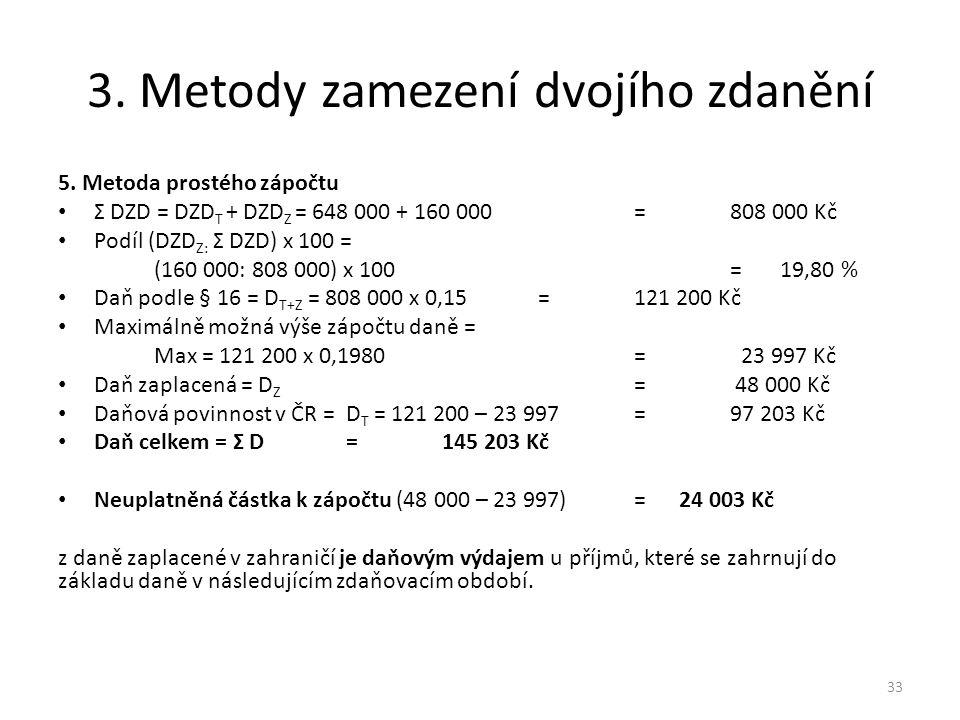 3.Metody zamezení dvojího zdanění 5.