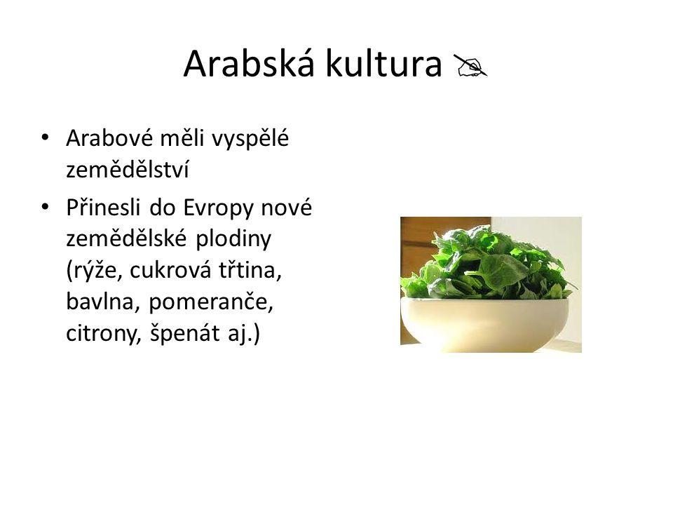 Arabská kultura  Arabové měli vyspělé zemědělství Přinesli do Evropy nové zemědělské plodiny (rýže, cukrová třtina, bavlna, pomeranče, citrony, špená