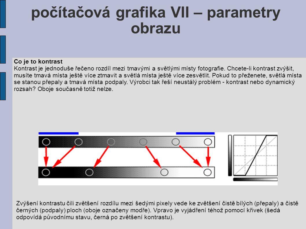 počítačová grafika VII – parametry obrazu Co je to kontrast Kontrast je jednoduše řečeno rozdíl mezi tmavými a světlými místy fotografie.