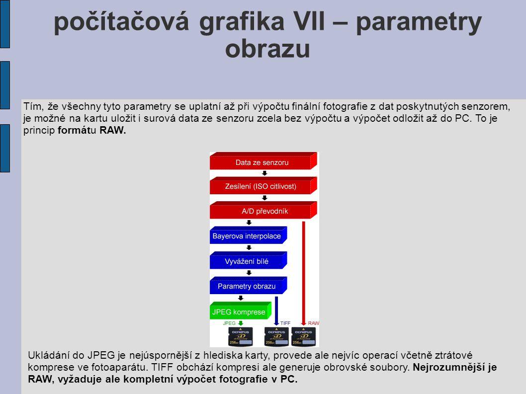 počítačová grafika VII – parametry obrazu Tím, že všechny tyto parametry se uplatní až při výpočtu finální fotografie z dat poskytnutých senzorem, je možné na kartu uložit i surová data ze senzoru zcela bez výpočtu a výpočet odložit až do PC.