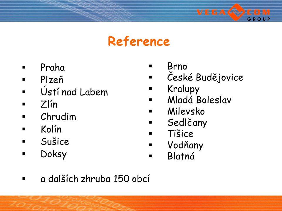 Reference  Praha  Plzeň  Ústí nad Labem  Zlín  Chrudim  Kolín  Sušice  Doksy  a dalších zhruba 150 obcí  Brno  České Budějovice  Kralupy 